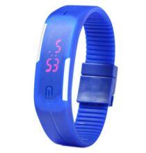 Modern LED karkötős unisex karóra dátum kijelzéssel - Kék