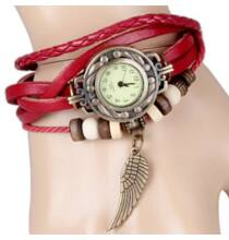 Karkötő stílusú műbőr női Quartz karóra - Piros