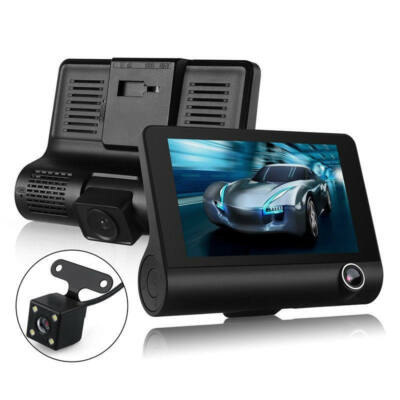 EU ECO Raktár - 4 Inch 3 Lens 1080P Éjjellátó Funkcióval Rendelkező Vezetéknélküli Autós Menetrögzítő DVR Kamera - fekete