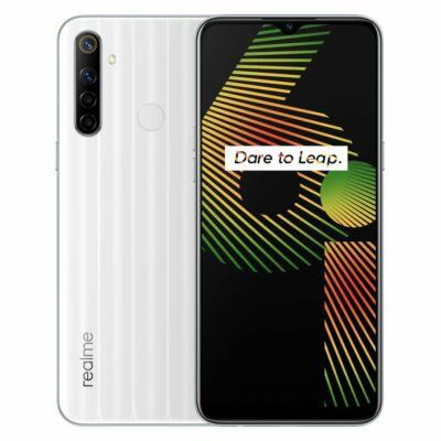 EU ECO Raktár - Realme 6i 6.5 inch NFC 5000mAh Android 10 48MP AI Quad Camera 4GB RAM 128GB ROM Helio G80 4G Okostelefon - Fehér