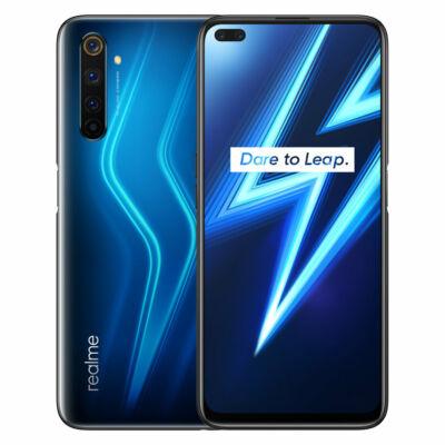 EU ECO Raktár - Realme 6 Pro 6.6 inch FHD+ 90Hz  NFC Android 10 4300mAh 64MP AI Quad Camera 6GB RAM 128GB ROM Snapdragon 720G 4G Okostelefon - Kék