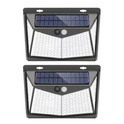 208 LED Kültéri mozgástérzékelős Szolár Lámpa - Fekete (2db.)