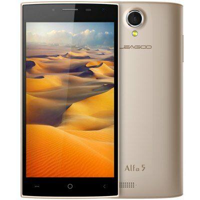 EU Raktárról - LEAGOO Alfa 5 5.0 HD IPS Android 5.1 SC7731 OTG 3G Okostelefon - Arany