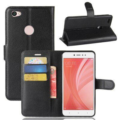 Xiaomi Redmi Note 5A Litchi mintás flip műbőr védőtok - Fekete