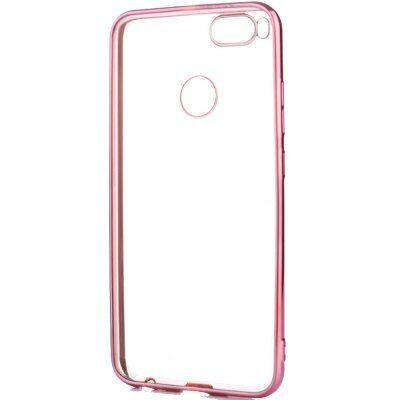 ASLING Xiaomi Mi A1 galvanizált élű védőtok - Pink arany