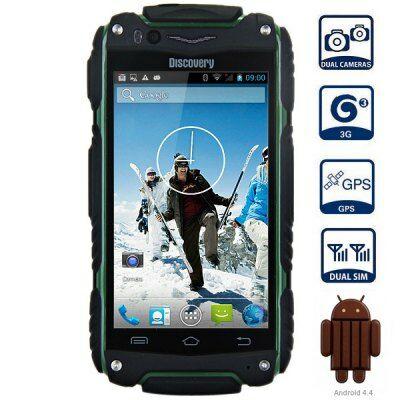 """Discovery V8 4.0"""" WVGA Android 4.4 MTK6572 Strapabíró 3G Okostelefon - Katonai zöld"""