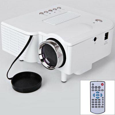 UC28+ Mini LED házimozi Projektor 320x240 16:9 HDMI USB SD VGA - Fehér