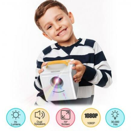 1080P Mini Multimédia Gyerek Projektor - Sárga