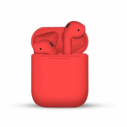 i12 TWS Vezetéknélküli Bluetooth Érintésvezérelhető Fülhallgató Töltő Tokkal - Piros