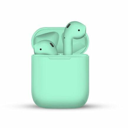 i12 TWS Vezetéknélküli Bluetooth Érintésvezérelhető Fülhallgató Töltő Tokkal - Zöld