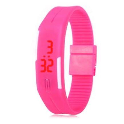 EU3 Raktár - Uniszex LED sport karóra gumiszíjjal - Pink
