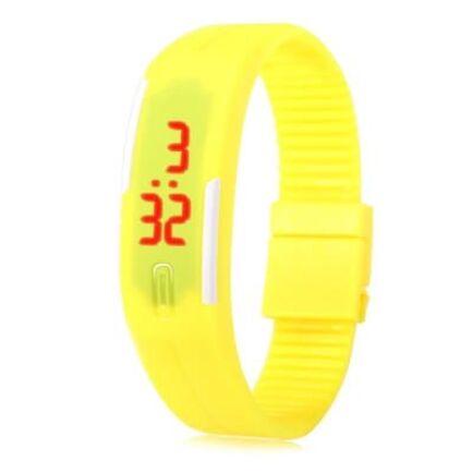 Uniszex LED sport karóra gumiszíjjal - Sárga