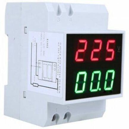 DIN Sínre (kalap sín) szerelhető Áram és Feszültségmérő - AC80-300V és 100A - LED kijelző
