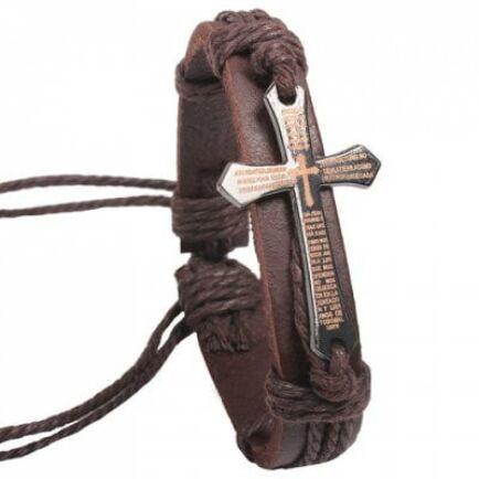 EU3 Raktár - Női bőr karkötő kereszttel - Barna