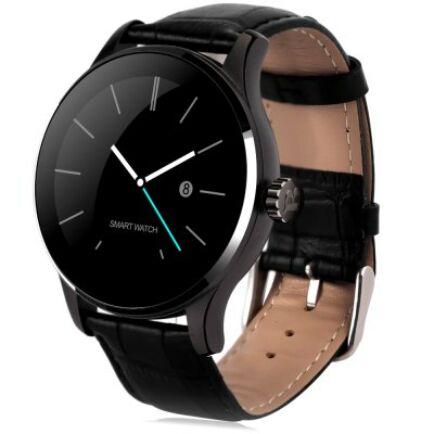 EU ECO Raktár - K88H Bluetooth 4.0 okosóra - Bőrszíj fekete