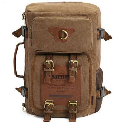KAUKKO FH05 22L Férfi variálható vászon táska hátizsák laptop táska - Sötét Khaki