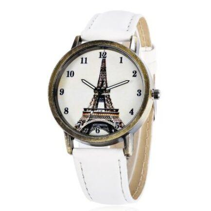 Eiffel-torony mintás női Quartz karóra - Fehér