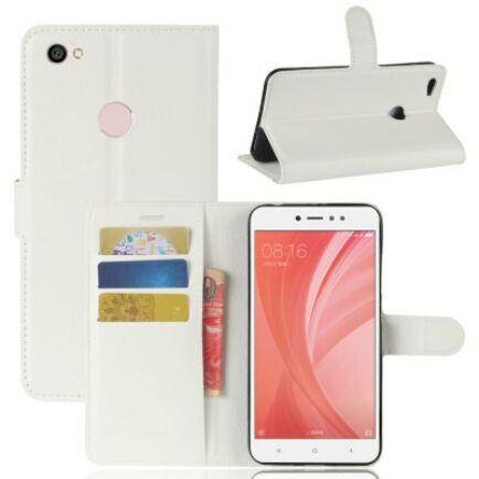 Xiaomi Redmi Note 5A Litchi mintás flip műbőr védőtok - Fehér
