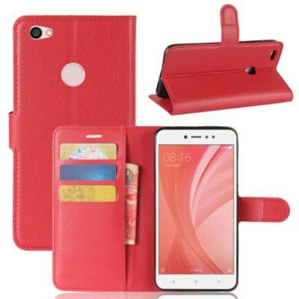 Xiaomi Redmi Note 5A Litchi mintás flip műbőr védőtok - Piros