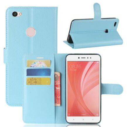 Xiaomi Redmi Note 5A Litchi mintás flip műbőr védőtok - Kék