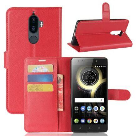 Lenovo K8 Note Litchi mintás csattos műbőr védőtok - Piros