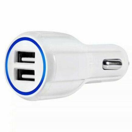QC3.0 Autós Szivargyújtóról működő két USB csatlakozós gyorstöltő - Fehér
