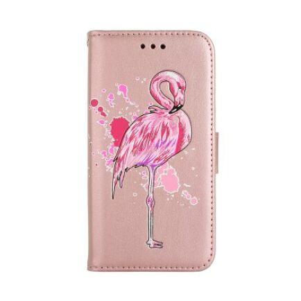 Samsung Galaxy S7 mágneses Flip védőtok Flamingó mintával - Rózsaarany