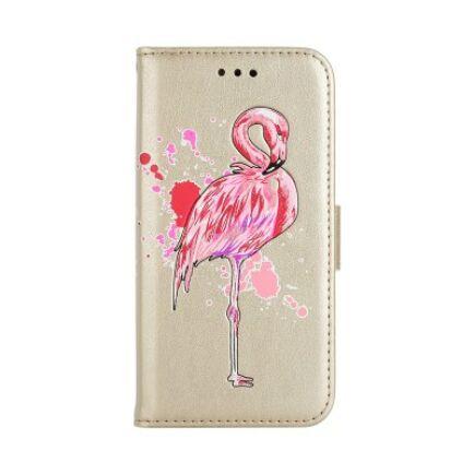 Samsung Galaxy S7 mágneses Flip védőtok - Flamingó - Aranysárga