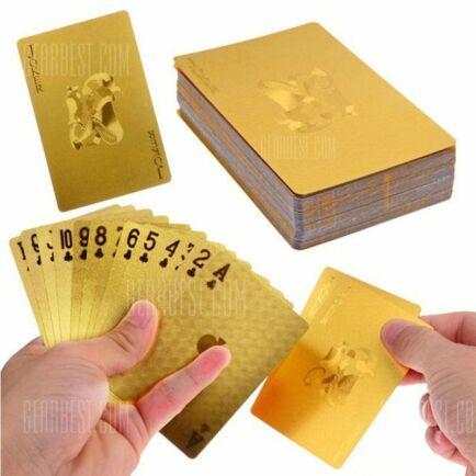 Tartós vízálló luxus 24K arany fóliával borított póker kártya - arany