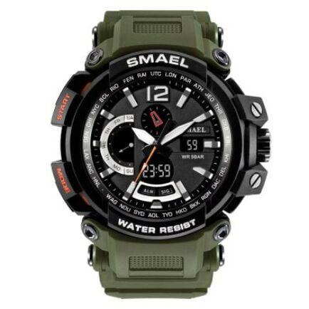 SMAEL 1702 Multifunkcionális Vízálló Elegáns LED Kvarc Sport óra Ébresztőóra funkcióval - Katonazöld