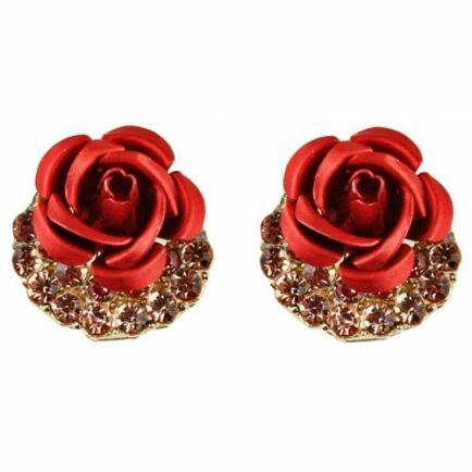 Aranyozott Rózsa Fülbevaló - Piros
