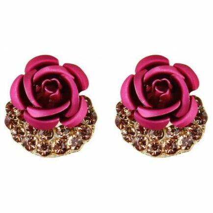 Aranyozott Rózsa Fülbevaló - Rózsaszín
