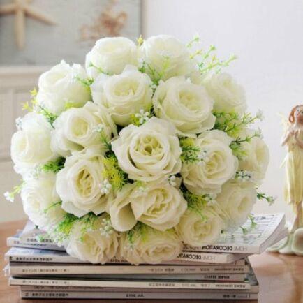 Aranyozott Rózsa Csokor - Fehér