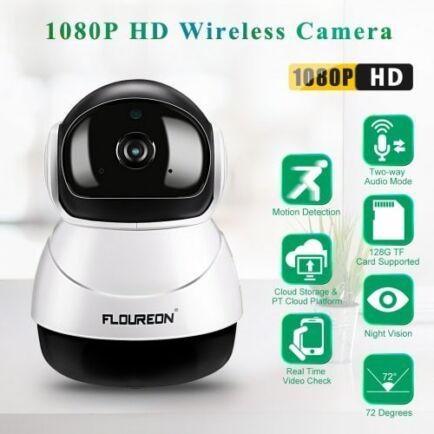 FLOUREON 1080P HD H.264 Vezetéknélküli WiFi IP Biztonsági Kamera - Fehér
