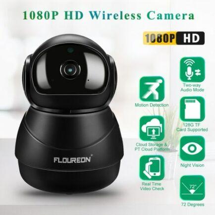 FLOUREON 1080P HD H.264 Vezetéknélküli WiFi IP Biztonsági Kamera - Fekete