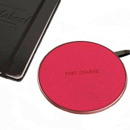 Leather QI Asztali Vezetéknélküli Gyorstöltő Okostelefonokhoz - Piros