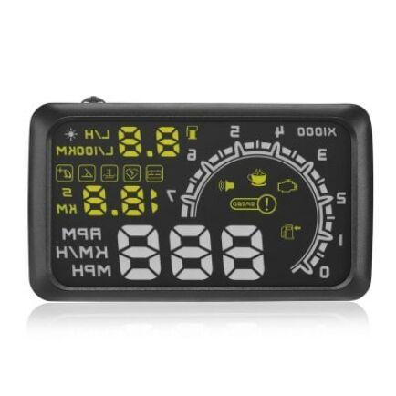 HUD - W02 Digitális Autós Fogyasztás Sebességmérő külső ablakra vetítő kijelző