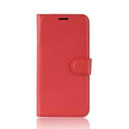 Litchi Oldalra Kihajtható FLIP Tok Elephone A5 A5 Lite Készülékre - Vörös