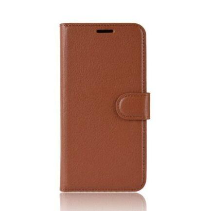 Litchi Oldalra Kihajtható FLIP Tok Elephone A5 A5 Lite Készülékre - Barna