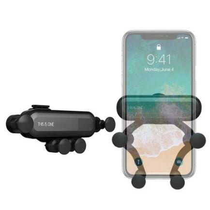 360-Fokban forgaható Autós Mobiltelefon Tartó - Fekete