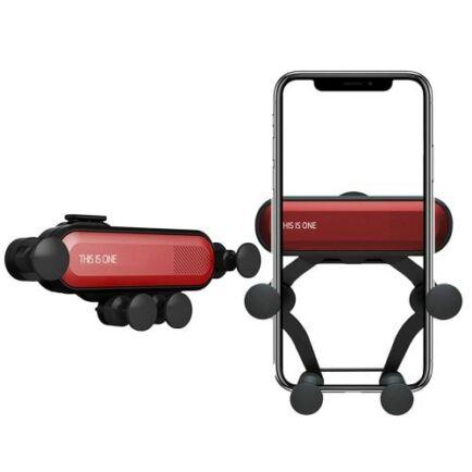 360-Fokban forgaható Autós Mobiltelefon Tartó - Piros
