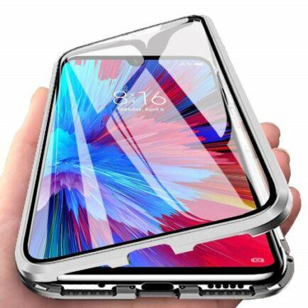 Dupla Üvegű Mágneses Mobiltelefon Tok OnePlus 7T Készülékhez - Fekete