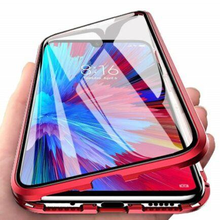 Dupla Üvegű Mágneses Mobiltelefon Tok OnePlus 7T Készülékhez - Piros
