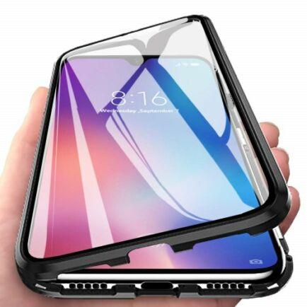 Dupla Üvegű Mágneses Mobiltelefon Tok OnePlus 7T Készülékhez - Ezüst
