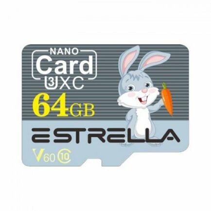 ESTRELLA Cute Cartoon Animal Nagysebességű Micro SD Class 10 Memóriakártya - 64GB