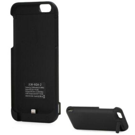 7000mAh Power Bank hátlapvédő tok jelző fénnyel iPhone 6 okostelefonhoz - Fekete