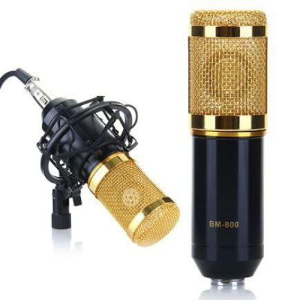 BM-800 professzionális stúdió mikrofon kondenzátorkapszulával, műanyag kengyellel - Fekete