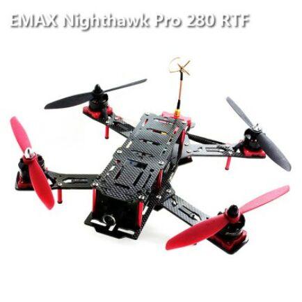 EMAX Nighthawk Pro 280 ARF Karbon és üvegszálas Quadcopter kamerával távirányítóval - Fekete