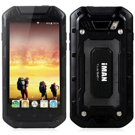"EU ECO Raktár - IMAN i5800 4.5"" HD Android 4.4 MTK6582 Strapabíró 3G okostelefon - Fekete"