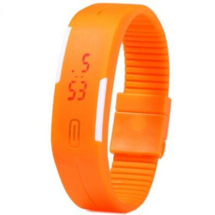 Modern LED karkötős unisex karóra dátum kijelzéssel - Narancs